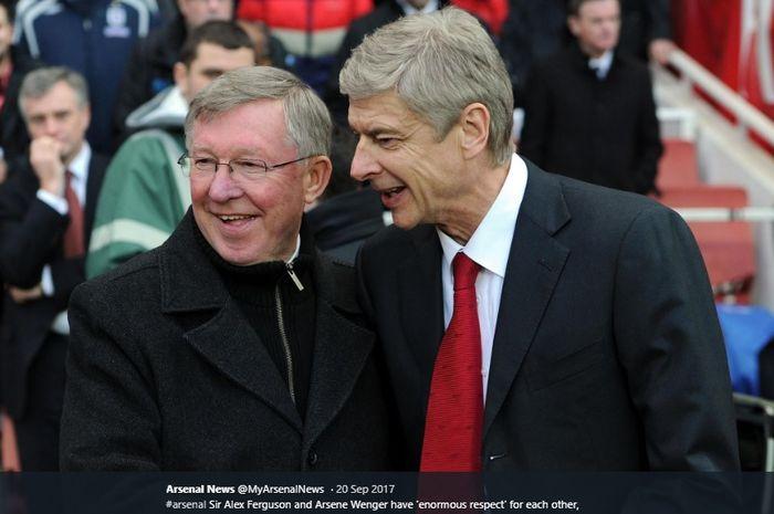 Mantan pelatih Manchester United dan Arsenal, Sir Alex Ferguson dan Arsene Wenger.