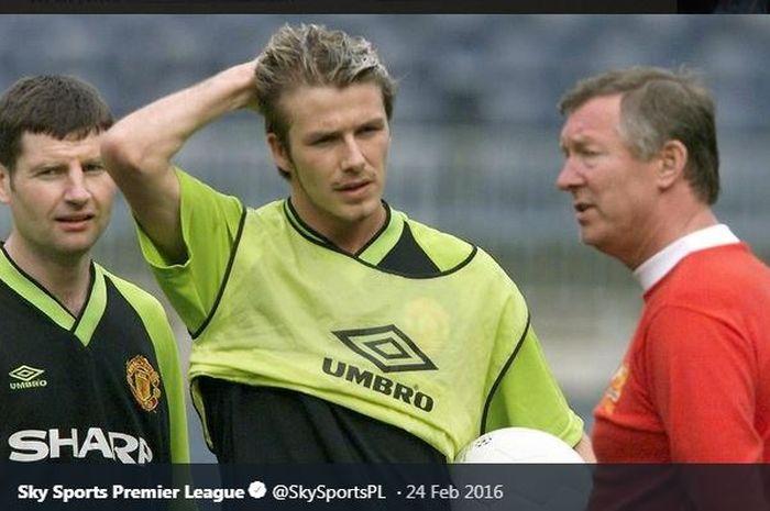 David Beckham dan Sir Alex Ferguson dalam sebuah sesi latihan tim Manchester United.