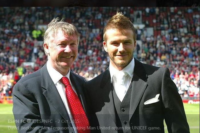 David Beckham (kanan) dan Sir Alex Ferguson, dua mantan tokoh sentral di Manchester United.