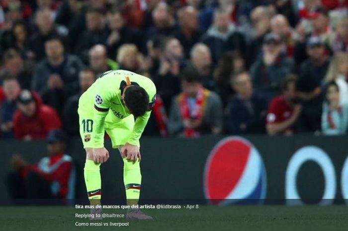 Ekspresi kapten Barcelona, Lionel Messi, setelah timnya dikalahkan oleh Liverpool pada babak semi-final Liga Champions 2018-2019.