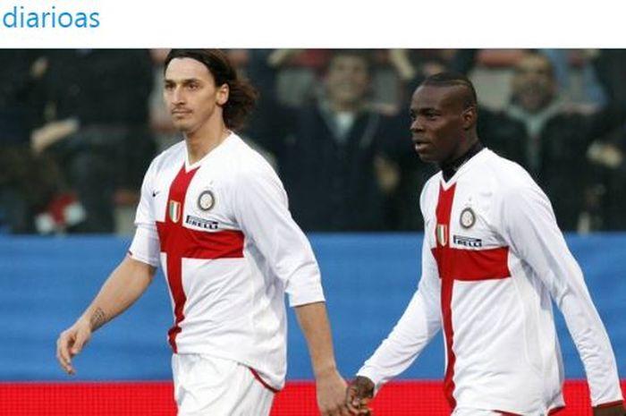 Ekspresi Zlatan Ibrahimovic dan Mario Balotelli saat masih berseragam Inter Milan.
