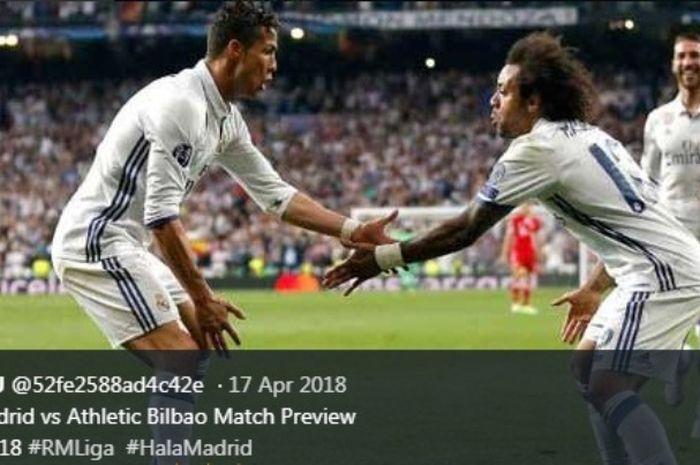 Cristiano Ronaldo saat membela Real Madrid dalam laga  kontra Athletic Bilbao, 18 Aprtil 2018.