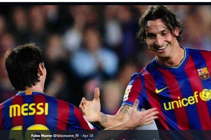Zlatan Ibrahimovic dan Lionel Messi saat membela Barcelona.