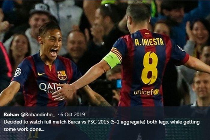 Neymar berselebrasi seusai menjebol gawang PSG dalam laga di Camp Nou, 21 April 2015.