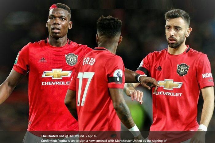 Tiga gelandang tengah milik Manchester United, Paul Pogba, Bruno Fernandes, dan Fred.