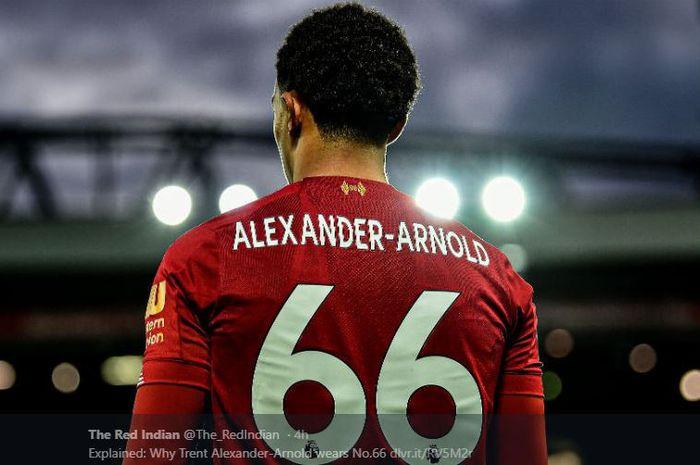 Nomor punggung 66, yang kini mulai identik dengan sosok bek sayap Liverpool, Trent Alexander-Arnold.