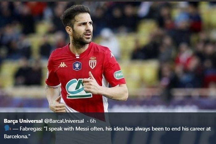 Eks gelandang Barcelona yang kini berseraga AS Monaco, Cesc Fabregas.