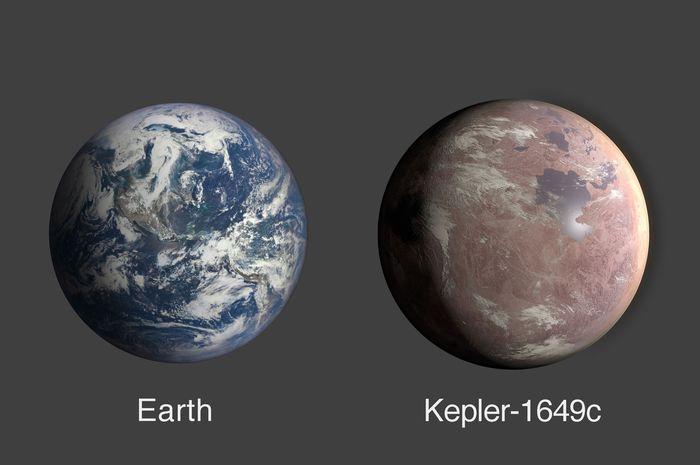 Perbandingan ukuran Kepler-1649c dengan Bumi