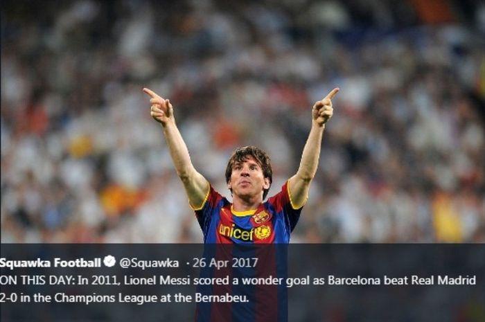 Selebrasi megabintang Barcelona, Lionel Messi,seusai menjebol gawang Real Madrid pada semifinal Liga Champions 2010-2011.