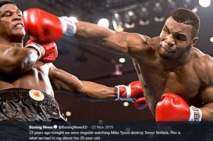 Aksi Mike Tyson (kanan)  ketika menghadapi juara tinju kelas berat WBC, Trevor Berbick, dalam pertandingan di Las Vegas Hilton, Paradise, Nevada, Amerika Serikat, 22 November 1986.