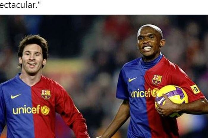 Penyerang Barcelona, Lionel Messi dan Samuel Eto'o.