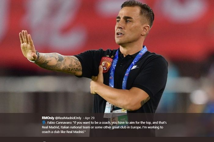 Legenda tim nasional Italia yang kini membela klub Liga Super China, Guangzhou Evergrande, Fabio Cannavaro.
