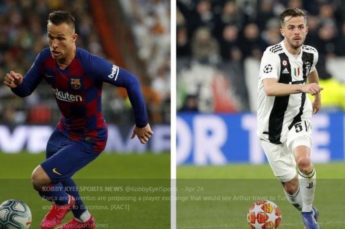Arthur Melo saat membela Barcelona (Kiri) dan Miralem Pjanic saat mengenakan seragam Juventus.