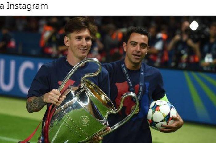 Lionel Messi dan Xavi Hernandez melakukan selebrasi usai membawa Barcelona menjuarai Liga Champions.