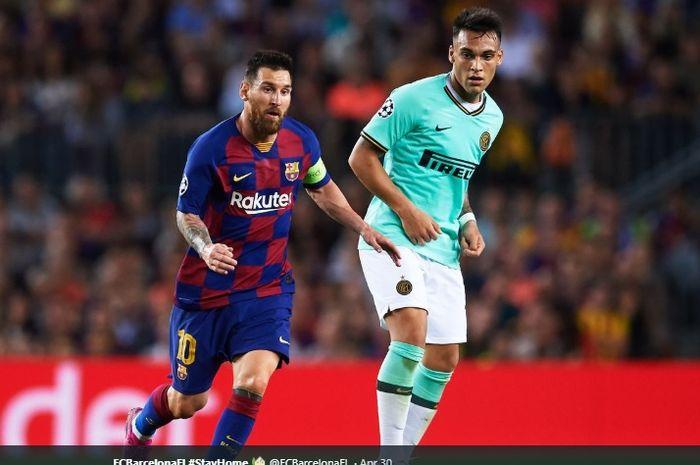 Penyerang Barcelona, Lionel Messi, berhadapan dengan bomber Inter Milan, Lautaro Martinez, pada gelaran fas grup Liga Champions musim 2019-2020.