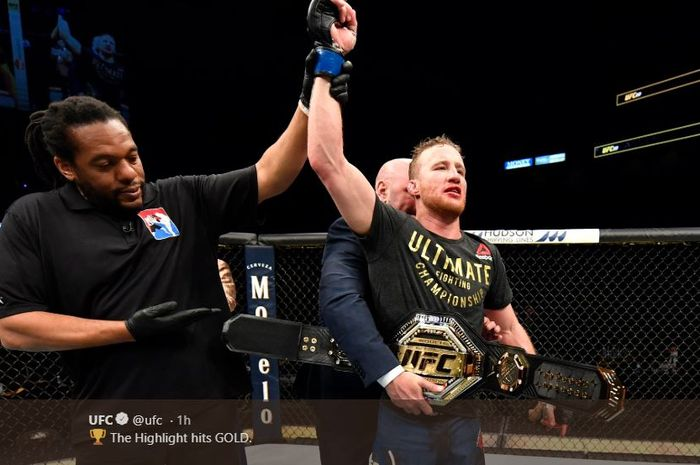 Justin Gaethje saat merebut gelar interim kelas ringan UFC pada event UFC 249