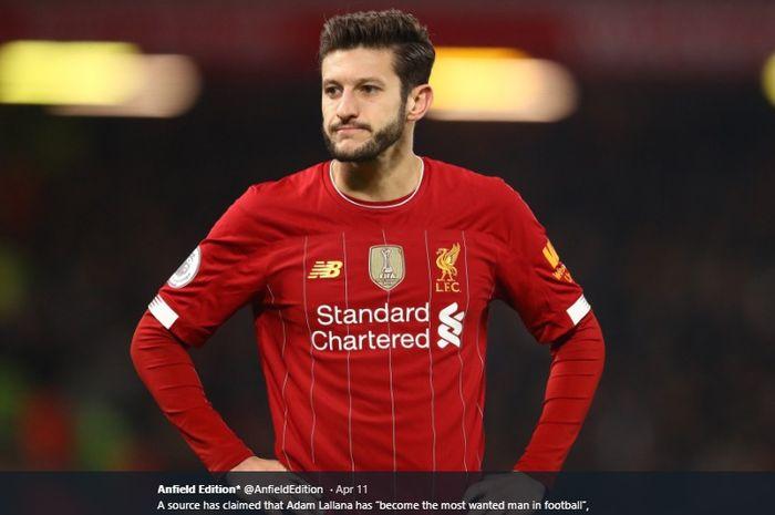 Gelandang tengah milik Liverpool, Adam Lallana, yang bakal dilepas pada akhir musim 2019-2020.