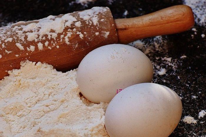 Ilustrasi tepung tapioka dan telur