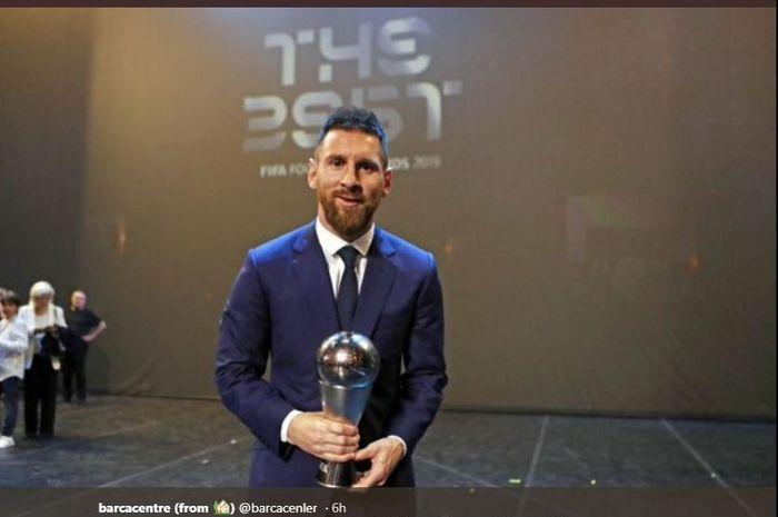 Lionel Messi saat meraih penghargaan The Best FIFA Men's Player 2019.