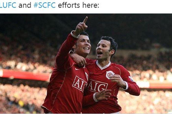 Cristiano Ronaldo dan Ryan Giggs melakukan selebrasi bersama dalam balutan seragam Manchester United.