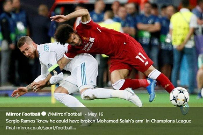Momen Sergio Ramos dan Mohamed Salah di final Liga Champions 2017-2018.