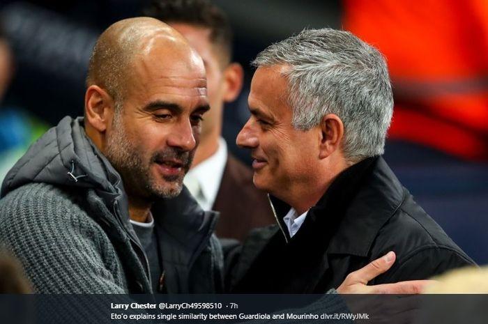 Momen Pep Guardiola dan Jose Mourinho saling bertemu dan memberi salam.