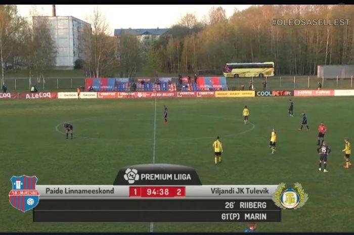 Laga Liga Estonia antara Paide vs Tulevik Viljandi yang digelar kembali pasca-karantina pada 19 Mei 2020.