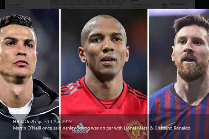 Ashley Young (tengah) pernah disebut sebanding dengan Cristiano Ronaldo dan Lionel Messi.