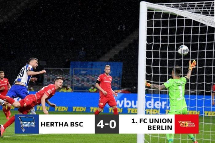 Vedad Ibisevic mencetak gol pertama dalam kemenangan 4-0 Hertha Berlin atas Union Berlin di pekan ke-27 Bundesliga, Jumat (22/5/2020).