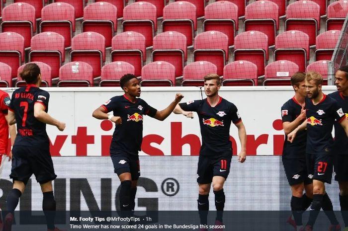 Penyerang RB Leipzig, Timo Werner, sukses mencetak hat-trick dalam kemenangan 5-0 atas Mainz 05 pada laga lanjutan pekan ke-27 Bundesliga, Minggu (24/5/2020).