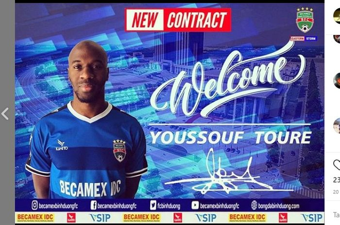 Penyerang Becamex Binh Duong, Youssouf Toure yang menggantikan posisi Wander Luiz