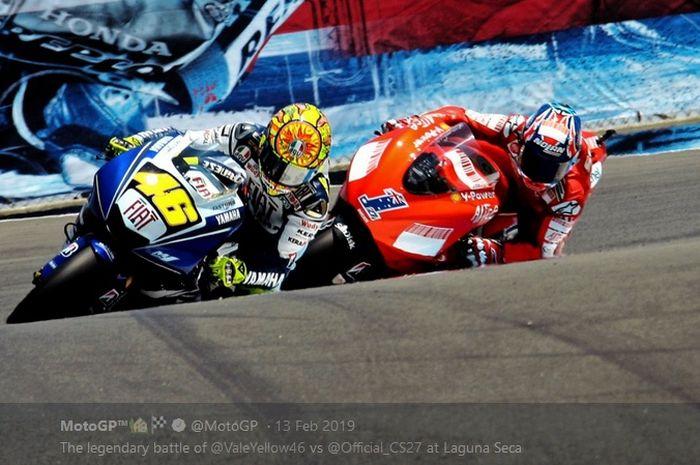 Kesuksesan mengatasi kecepatan Casey Stoner (#1) dalam balapan MotoGP Amerika Serikat di Laguna Seca (20/7/2008) menjadi salah satu penampilan terbaik Valentino Rossi (#46) sepanjang kariernya.