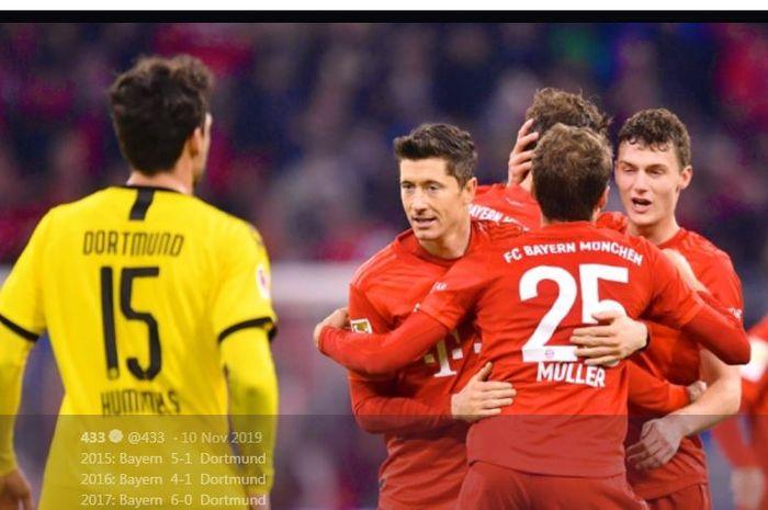 Awak Bayern Muenchen saat merayakan gol ke gawang Borussia Dortmund dalam pertandingan Bundesliga.
