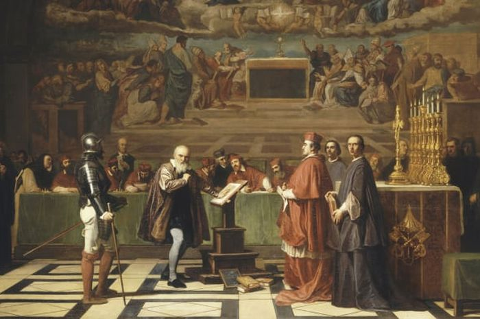 Galileo Galilei di hadapan anggota Kantor Suci di Vatikan pada tahun 1633.