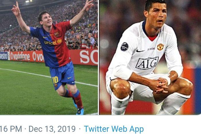Megabintang Barcelona, Lionel Messi, berhasil menegaskan dominasinya atas Cristiano Ronaldo saat duel melawan Manchester United dalam laga final Liga Champions 2008-2009 di Stadion Olimpico, Roma.
