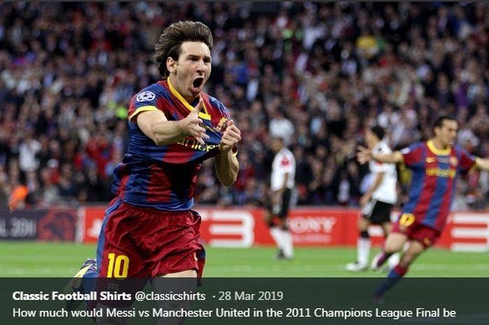 Megabintang Barcelona, Lionel Messi, merayakan  gol  ke gawang Manchester United pada final Liga  Champions 2011-2012.