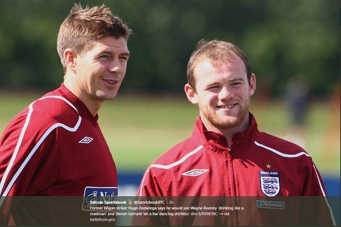 Duo mantan pemain timnas Inggris, Steven Gerrard (kiri) dan Wayne Rooney (kanan).