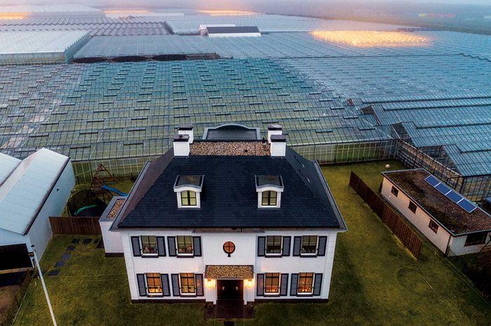 Lautan rumah kaca mengelilingi rumah seorang petani di wilayah Westland di Belanda. Belanda menjadi negara terdepan di dunia dalam inovasi pertanian, yang merintis jalan baru untuk memerangi kelaparan.