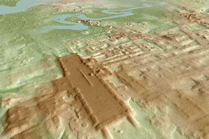 Gambar situs Aguada Fenix berdasarkan LIDAR.