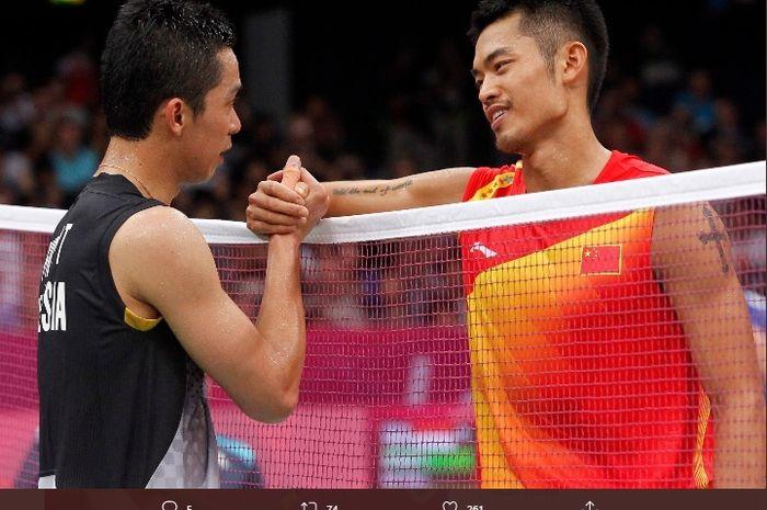 Taufik Hidayat (kiri) dan Lin Dan (kanan)
