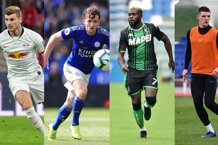 Kolase pemain Incaran Chelsea untuk musim 2020/2021 (dari kanan ke kiri) Timo Werner, Ben Chilwell, Jeremie Boga dan Declan Rice.