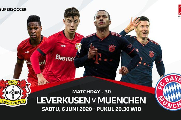 Jadwal pekan ke-30 Liga Jerman antara Bayer Leverkusen vs Bayern Muenchen.