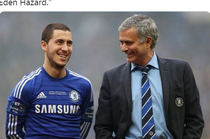 Eden Hazard dan Jose Mourinho sama-sama tersenyum saat berada di Chelsea.