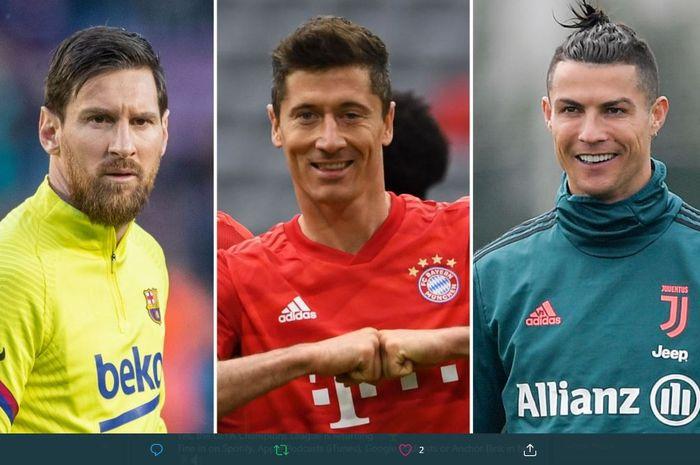 Dari kiri ke kanan: Lionel Messi, Robert Lewandowski, dan Cristiano Ronaldo.