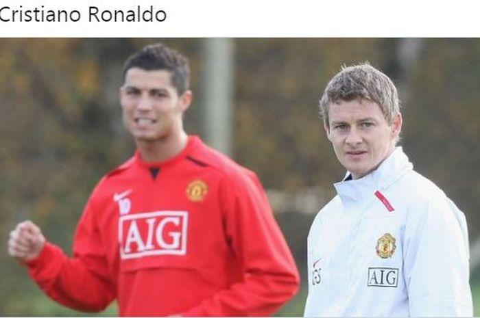 Ekspresi Cristiano Ronaldo dan Ole Gunnar Solskjaer saat sama-sama membela Manchester United.