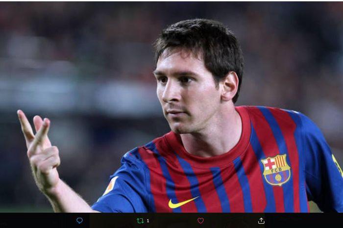 Selebrasi Lionel Messi usai menjebol gawang Real Mallorca dalam duel Barcelona kontra sang rival di LaLiga, 29 Oktober 2011.