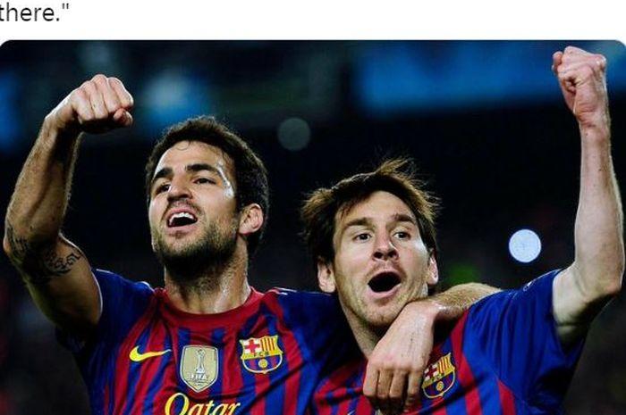 Cesc Fabregas dan Lionel Messi melakukan selebrasi saat sama-sama membela Barcelona.