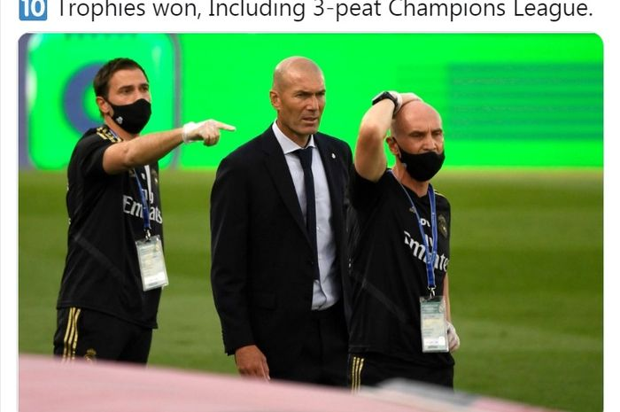 Ekspresi pelatih Real Madrid, Zinedine Zidane.