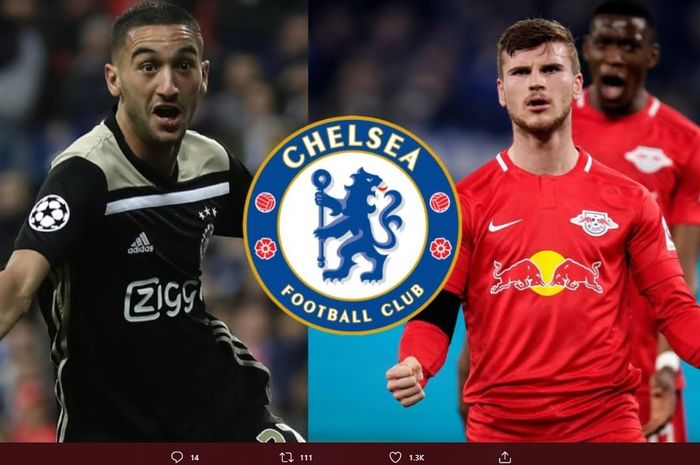 Ilustrsasi dua rekrutan baru Chelsea, Hakim Ziyech dan Timo Werner.