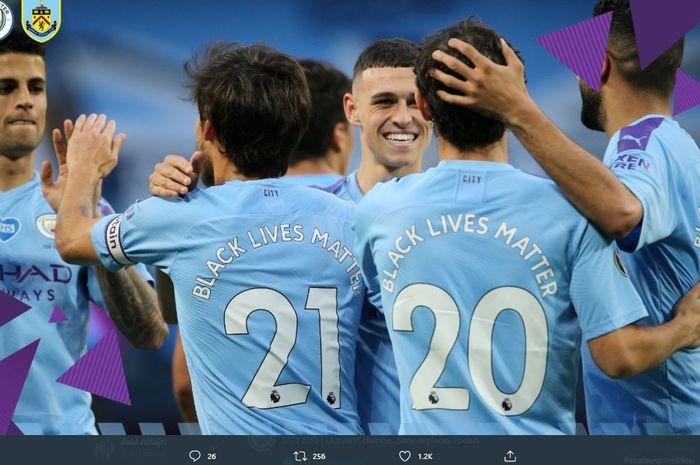 Manchester City berhasil menang 5-0 atas Burnley pada laga pekan ke-30 Liga Inggris 2019-2020 di Stadion Etihad, Selasa (23/6/2020) dini hari WIB.